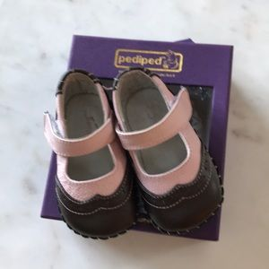Pediped Samantha pink/brown shoes 6-12 months
